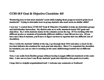 CCSS IEP Goal/Obj Checklist: RF
