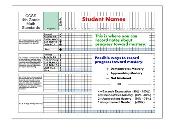 Indiana Standards Record Sheet 4th Grade