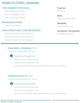 CCSS Lesson Plan Template - 11th/12th Grade - ELA: Language