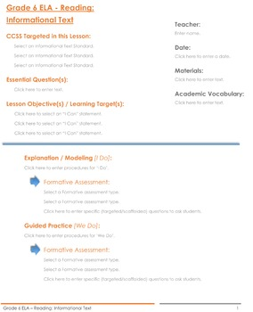 CCSS Lesson Plan Template - 6th Grade Reading: Informational Text