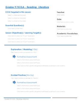 CCSS Lesson Plan Template - 9th/10th ELA Bundle