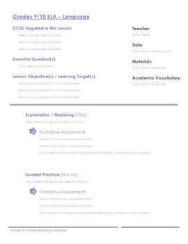 CCSS Lesson Plan Template - 9th/10th Grade Language