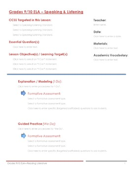 CCSS Lesson Plan Template - 9th/10th Grade Speaking and Listening