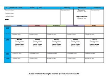 CCSS Lesson Plan Template First Grade All Subjects-- GA Sc