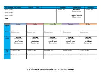 CCSS Lesson Plan Template Kindergarten All Subjects-- GA S