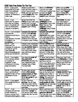 CCSS Literature Task Free Choice Tic-Tac-Toe (Digital Vers