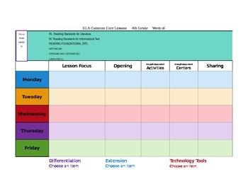 CCSS Mac Version Lesson Plan Template Fourth Grade All Sub