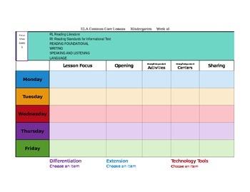 CCSS Mac Version TKES Lesson Plan Template Kindergarten -G