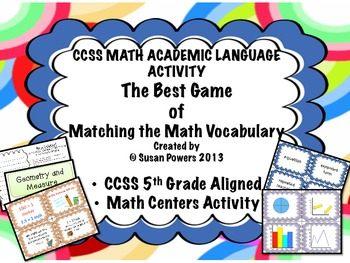 CCSS Math Academic Language Vocabulary Matching Activity