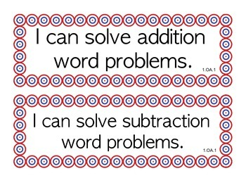CCSS Math I Can Statements for 1st grade