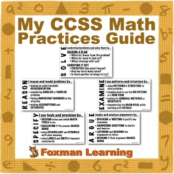 Math Practices Plan--CCSS Common Core Middle School 7th and 8th