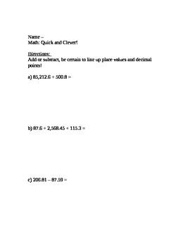 CCSS Module 1, Ten Minute Math 2