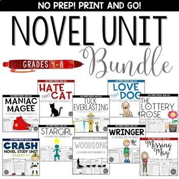 Novel Unit Bundle for Grades 4-8 Common Core Aligned
