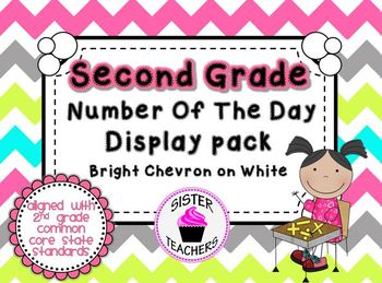 Bright Chevron on White- Common Core Number of the Day Dis