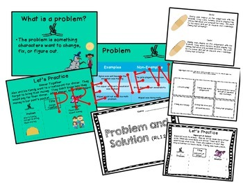 CCSS RL1.2 Problem and Solution Pack (PowerPoint, mini boo