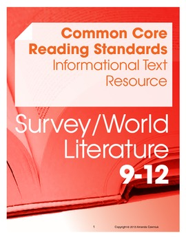 CCSS Reading Standards: Informational Text Resource--World