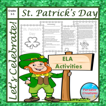 """CCSS """"ST. PATRICK'S DAY & LEPRECHAUNS"""" TEXT-BASED WRITING"""