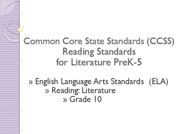 Common Core CCSS SWBAT Learning Goals Posters Grade 10 Rea