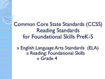 CCSS SWBAT Learning Goals Posters Grade 4 Reading: Foundat
