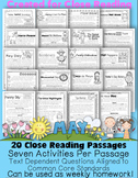May Close Reading and Text Evidence {20 Passages Written a