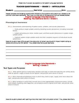 CCSS Teacher Questionnaire ~ Articulation ~ Grade 1