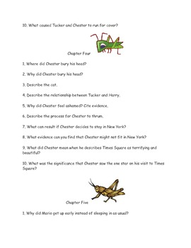 """CCSS Text Based Novel Questions """"Cricket in Times Square"""""""