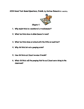 """CCSS Text Based Novel Questions """"Frindle"""""""