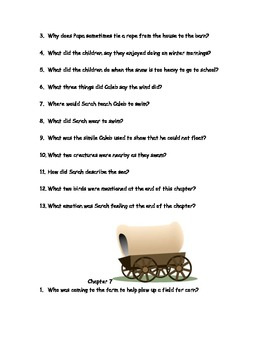 """CCSS Text Based Novel Questions """"Sarah Plain and Tall"""""""