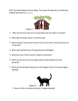 "CCSS Text Based Questions Novel Magic Tree House"" Mummies"