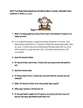"""CCSS Text Based Questions & Related Math """"Chocolate Fever"""""""