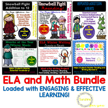 Winter Math & Literacy Packets. NO PREP! 7 Packets of Acti