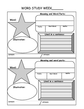 CCSS Word Study Graphic Organizer