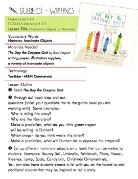 "CCSS.ELA  Writing Lesson Plan on ""The Day the Crayons Quit"