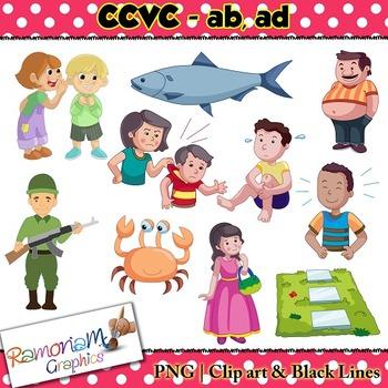 CCVC short vowel ab and ad clip art