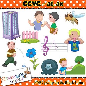 CCVC short vowel at, ax clip art