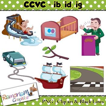 CCVC short vowel ib, id, ig clip art