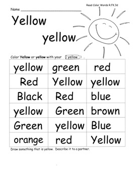 Colors/Color Word Study w/ C.Core Speaking Listening Activ