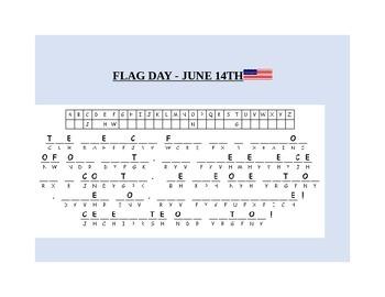 CELEBRATE FLAG DAY AMERICA JUNE 14TH- CRYPTOGRAM