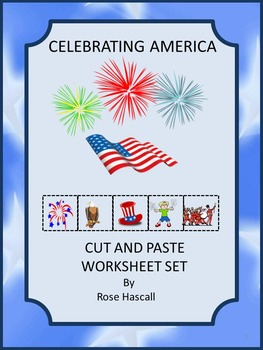 America Cut and Paste No PREP Printables for Math and Lite