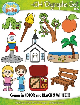 -CH Digraphs Words Clipart Set — Includes 20 Graphics!