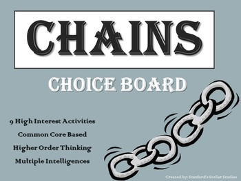 CHAINS Choice Board Tic Tac Toe Novel Activities Assessment