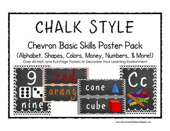 CHALK Chevon Basic Skills Poster Pack (Alphabet, Shapes, C