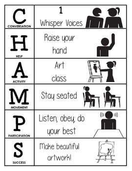 CHAMPS Behavior and Expectations Chart, Art, B&W