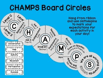 CHAMPS Board Circles for Classroom Management