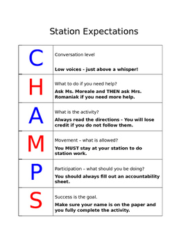 CHAMPS Work Station Expectations