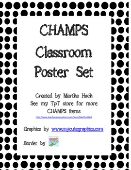 CHAMPS letter posters (ladybug polka dots)