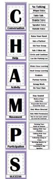 CHAMPs Clip Poster- Editable! Purple and Gray (Quatrefoil)