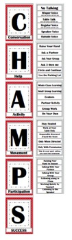 CHAMPs Clip Poster- Editable! Red and Gray (Quatrefoil)
