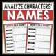 CHARACTER ASSIGNMENT - NAME ANALYSIS