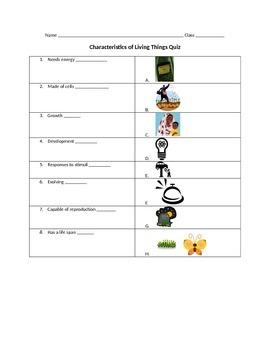 CHARACTERISTICS OF LIFE QUIZ